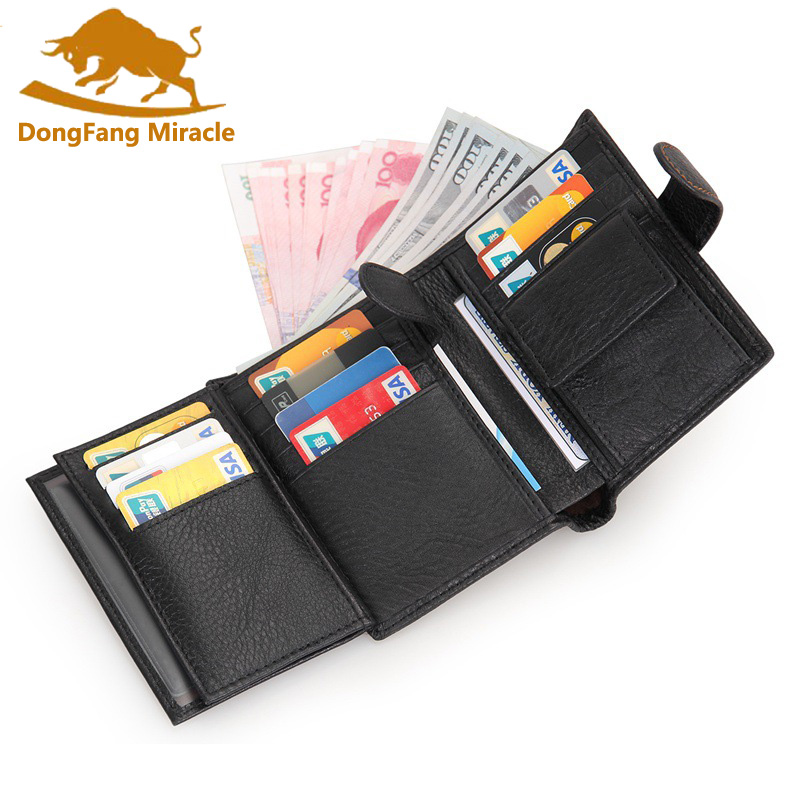 Casual Men Wallets Genuine Leather Wallet Hasp Wallets With Coin Pocket Purse Card Holder For Men Carteira