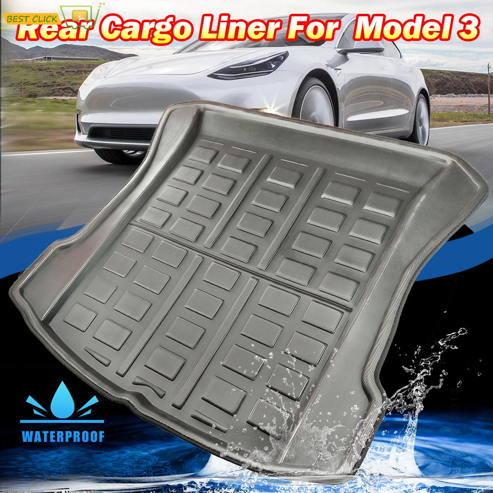 For Tesla Model 3 2017 2018 2019 BlueStar Rear Cargo Liner Boot Tray Trunk Mat Luggage FLoor Carpet Tray Waterproof All Weather