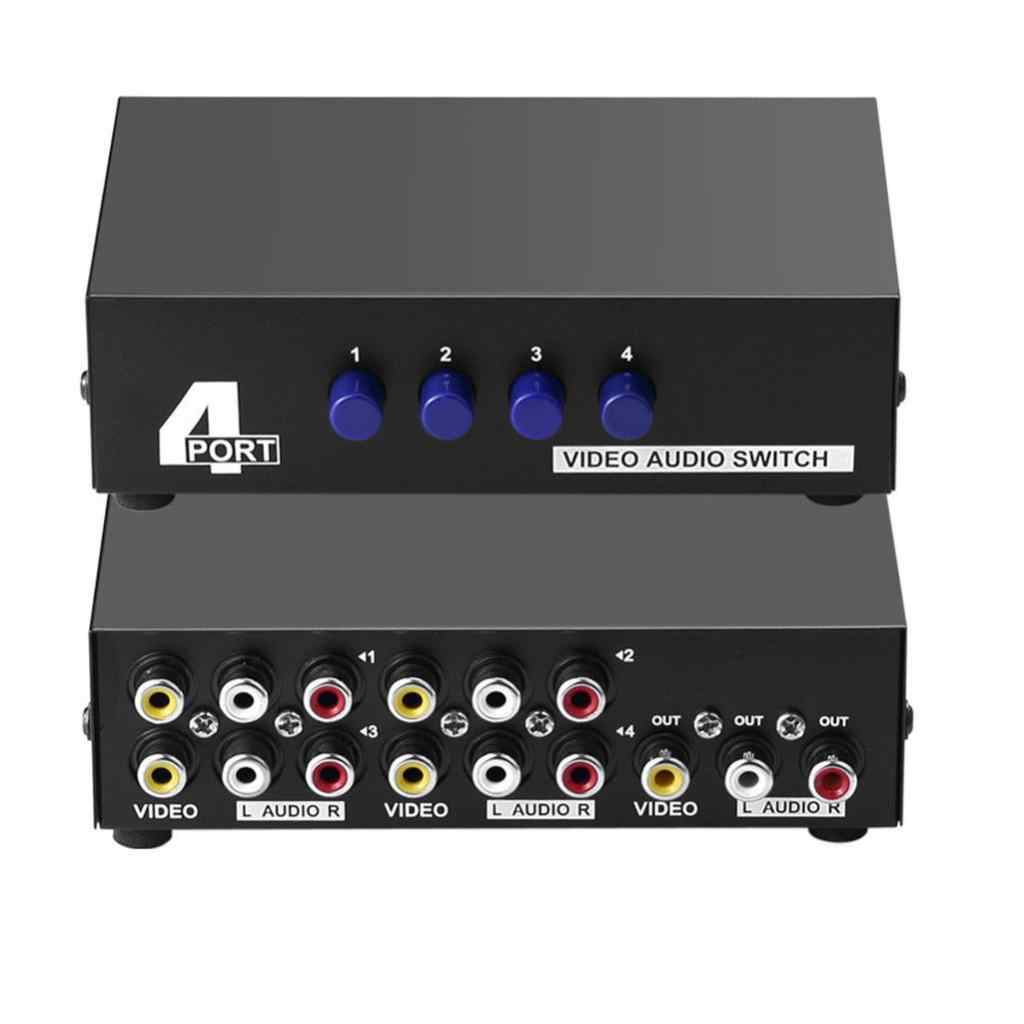 4Port AV Switch 3 RCA Splitter Adaptor 4 Input 1 Output L/R Audio Video Switcher Selector Kotak, tombol Manual Welding