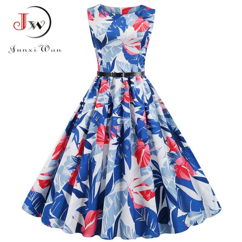 Flamingo Print Women Summer Dress Vintage Sleeveless O-neck Elegant Floral Party Dresses Vestidos Casual Plus Size Robe Femme 4