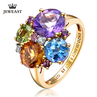 ENZO Natural topaz/Peridot/Amethyst/Citrine 18K Pure Gold 2019 New Hot Selling Top Ring Shape Ring For Woman Genuine Jewelry