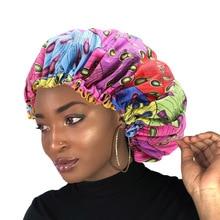 New Extra Large Sleep Cap African Print hair bonnet Satin Lined sleep cap Night Hat Ladies Turban