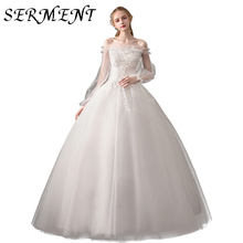 Wedding Dress 2019 New Bride Word Shoulders Luxury Forest Starry Simple Slimming  Short