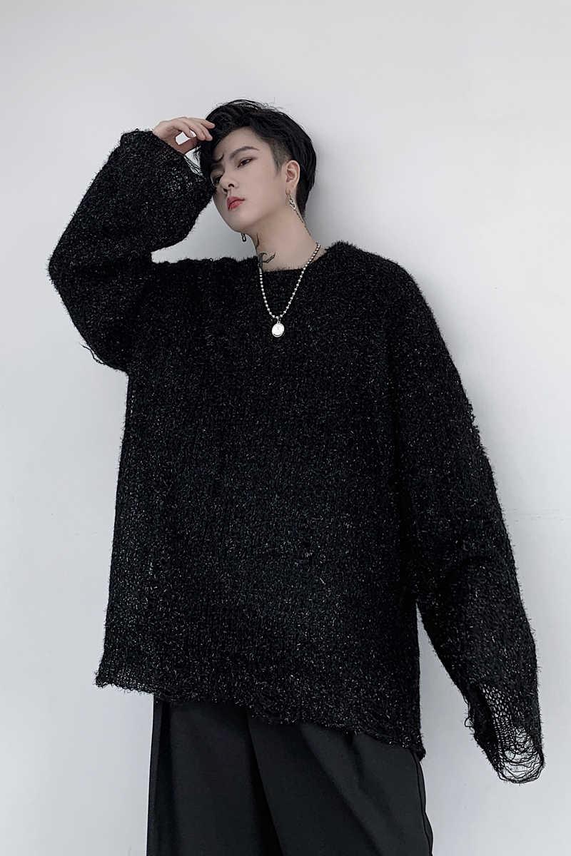 남성 여성 긴 소매 스팽글 빛나는 구멍 니트 풀오버 스웨터 남성 streetwear 힙합 펑크 고딕 빈티지 느슨한 스웨터