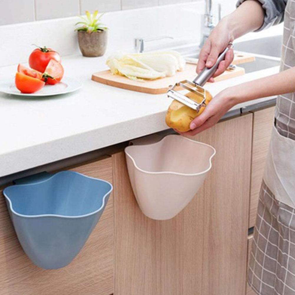 kitchen accessories Mini Kitchen Cabinet Door Hanging Garbage Bin Can Desk Trash Storage Container