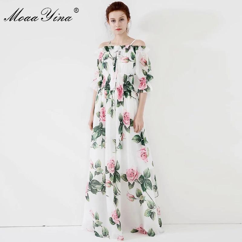 MoaaYina Fashion Designer dress Spring Summer Women Dress Rose Floral-Print Vacation Maxi Dresses