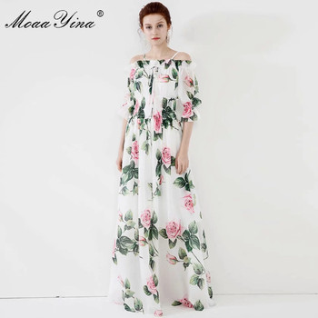 MoaaYina Fashion Designer dress Spring Summer Women Dress Rose Floral-Print Vacation Maxi Dresses moaayina fashion designer runway dress spring summer women dress v neck batwing sleeve print loose maxi dresses