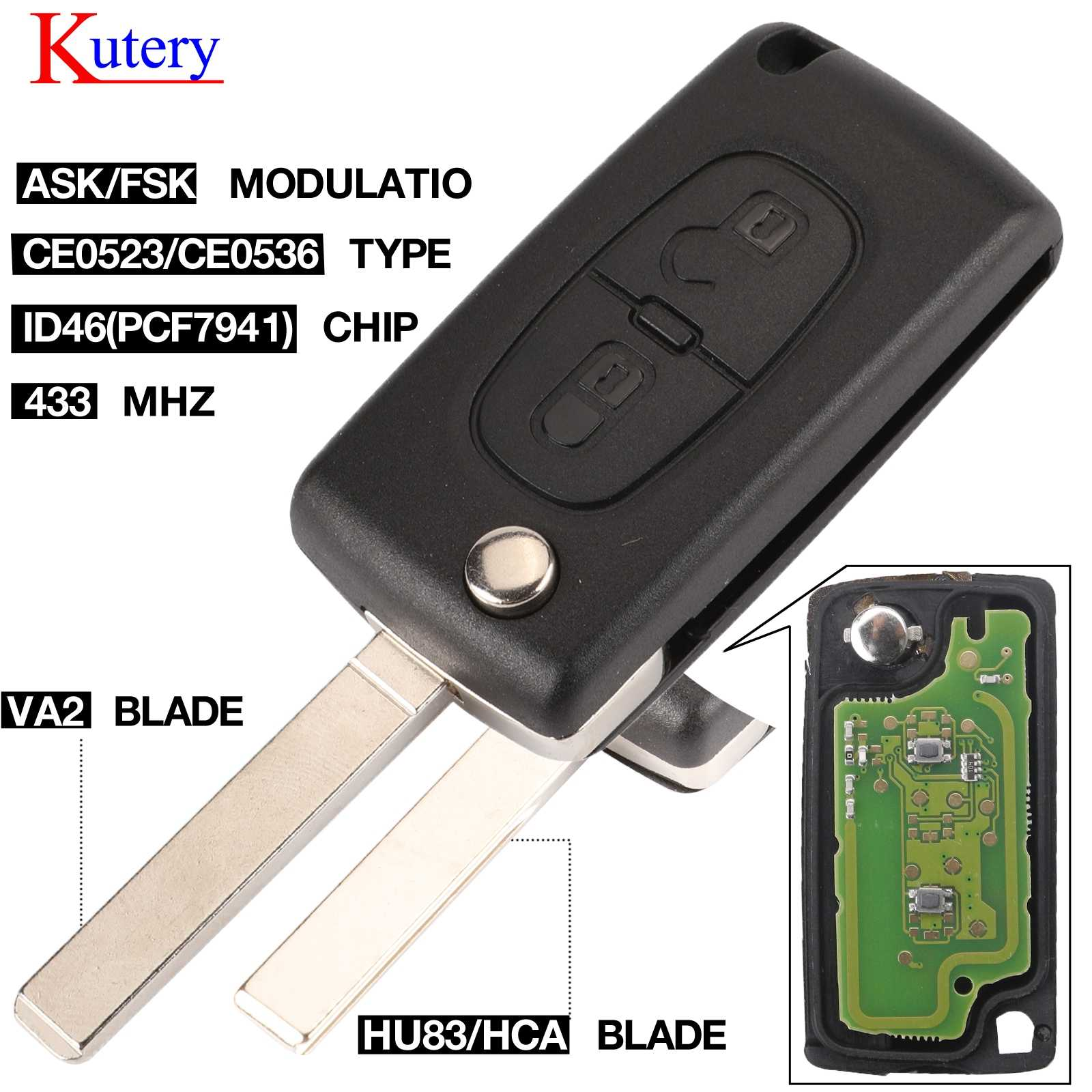 Kutery 434 433mhzのfsk/依頼 2 ボタンフリップキープジョー 107 207 307 307s 308 407 607 リモコンfob PCF7961 PCF7941 チップ
