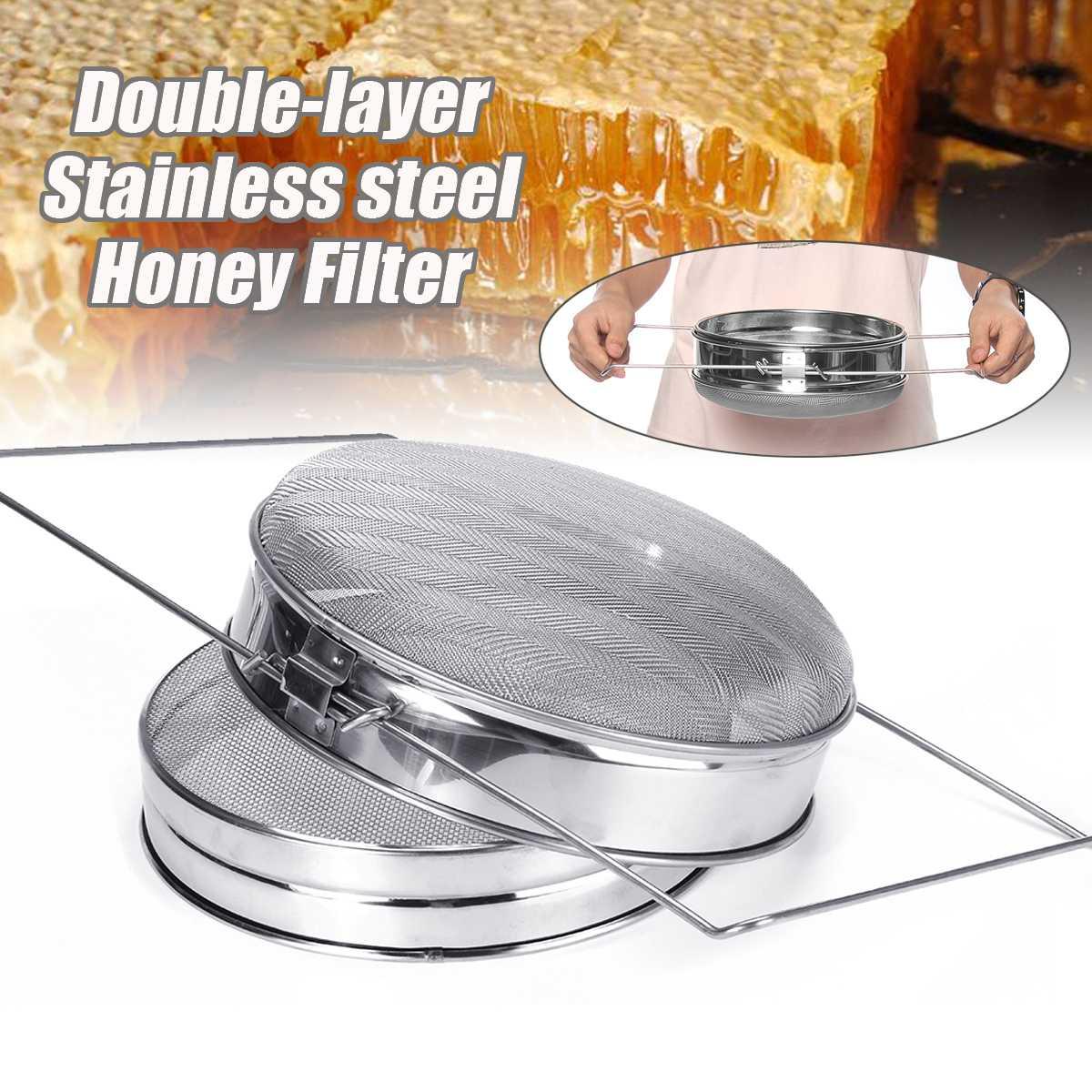 Beekeeping Tools Equipment Honey Filter Double Layer Sieve Stainless Steel Mesh