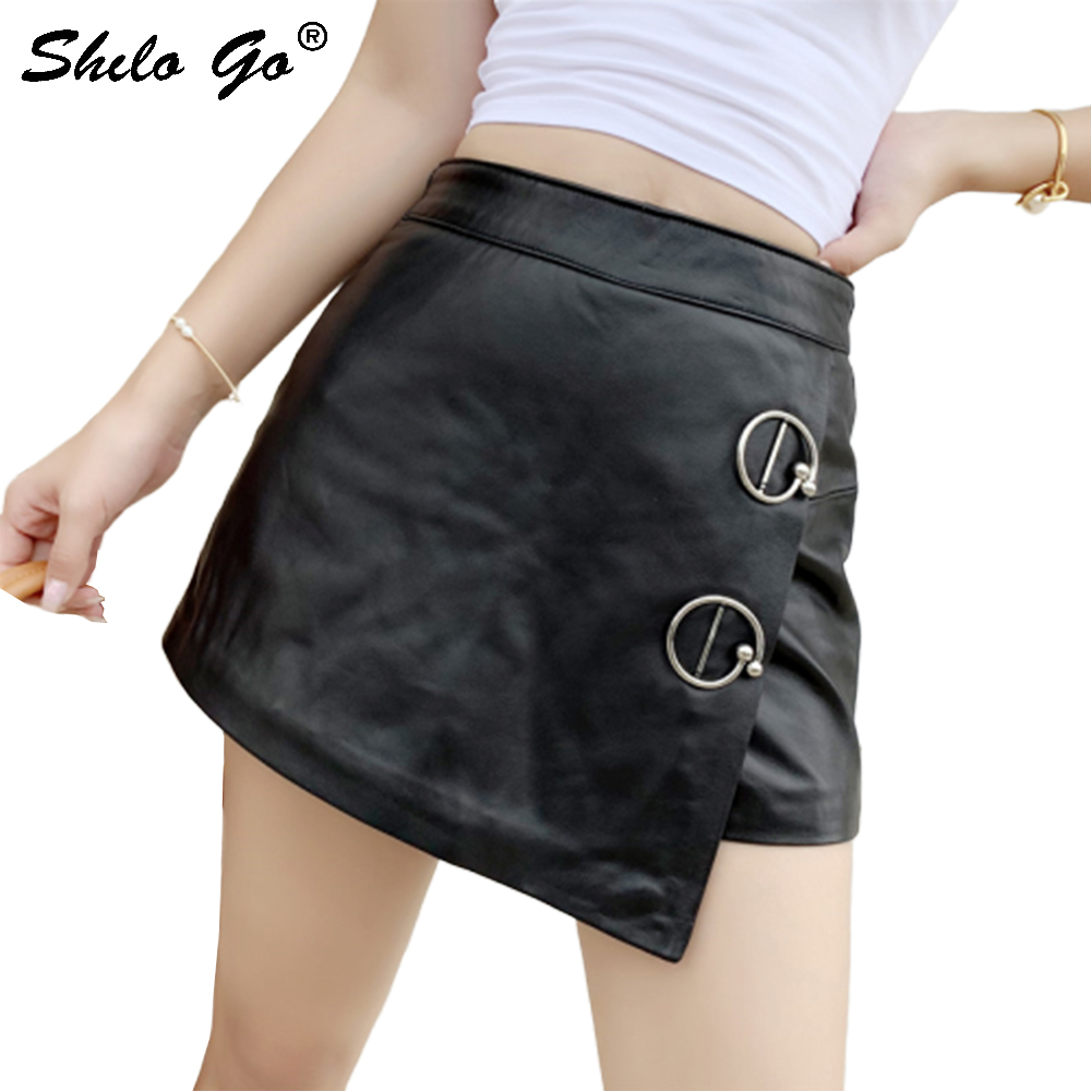 Genuine Leather Skirt O-Ring Metal Detail High Waist Sheepskin Asymmetry Hot Skirt Women Autumn Winter Highstreet A Line Skirts