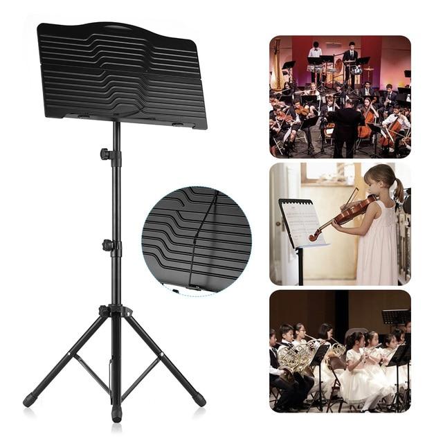 Portatile In Metallo Del Basamento di Musica Regolabile in altezza Staccabile Strumenti Musicali Chitarra per Pianoforte Violino Chitarra Copriletto Musica Nero