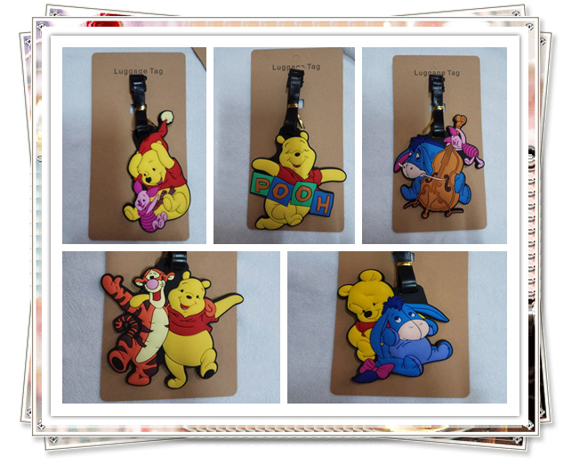Eeyore Tigger Piglet Anime Travel Accessories Luggage Tag Suitcase ID Address Portable Tags Holder Baggage Brand New