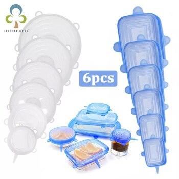 Tapa para comida de silicona reutilizable de 6 uds tapas elásticas cubierta Universal para alimentos tapas de silicona de mantenimiento fresco tapa mágica estirable ZXH