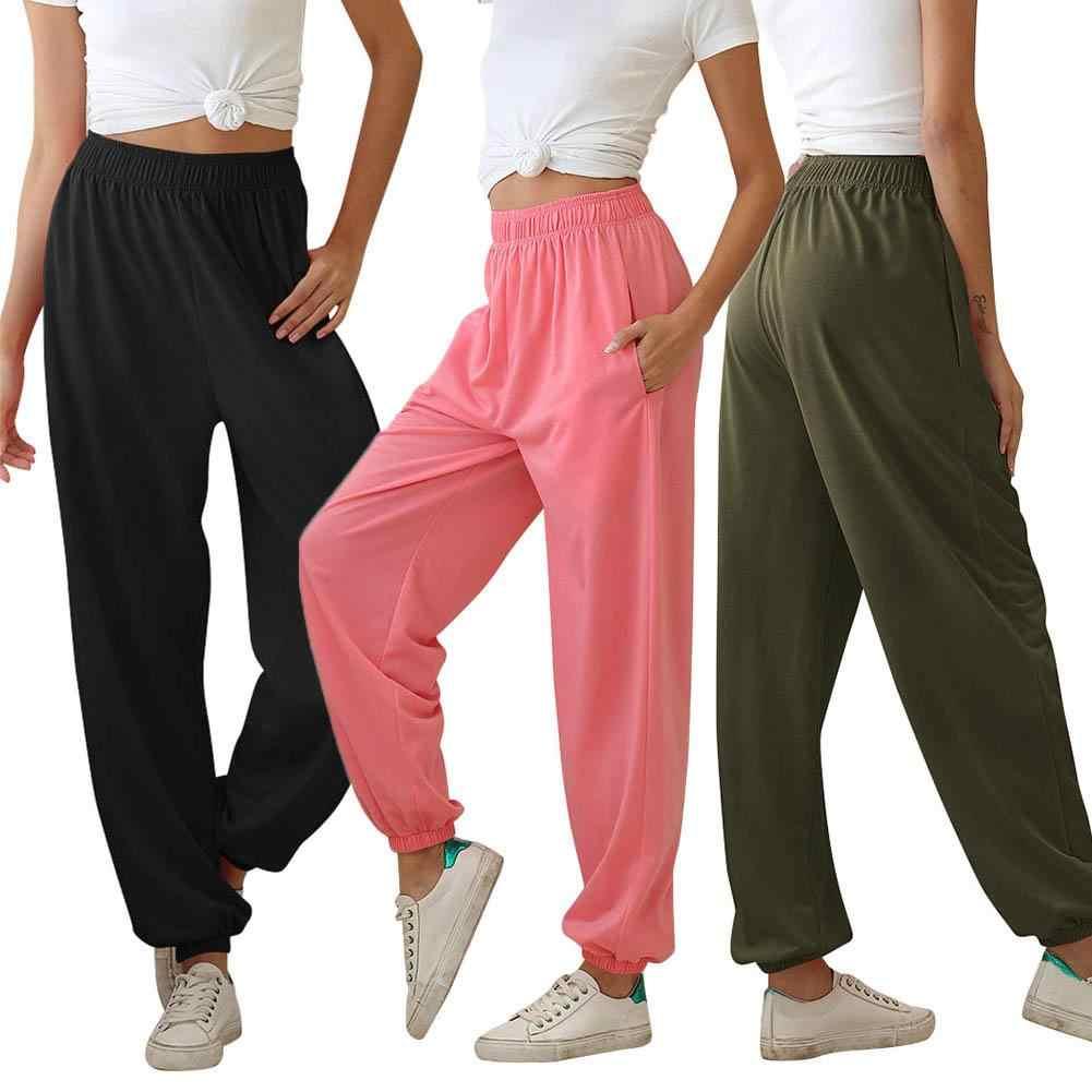 Novedad De 2020 Pantalon Deportivo Para Mujer Pantalones De Chandal Informales De Moda Para Verano Para Mujer Pantalones Largos De Cintura Lisa Elastico Chandal De Talla Grande Pantalones Y Pantalones Capri Aliexpress