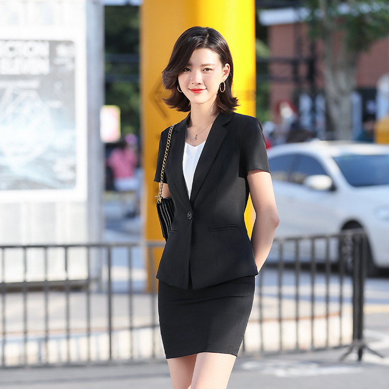 2020 Summer Black Professional Wear High Quality Women's Suit Pants Fashion Short Sleeve Ladies Blazer Casual Skirt Trousers