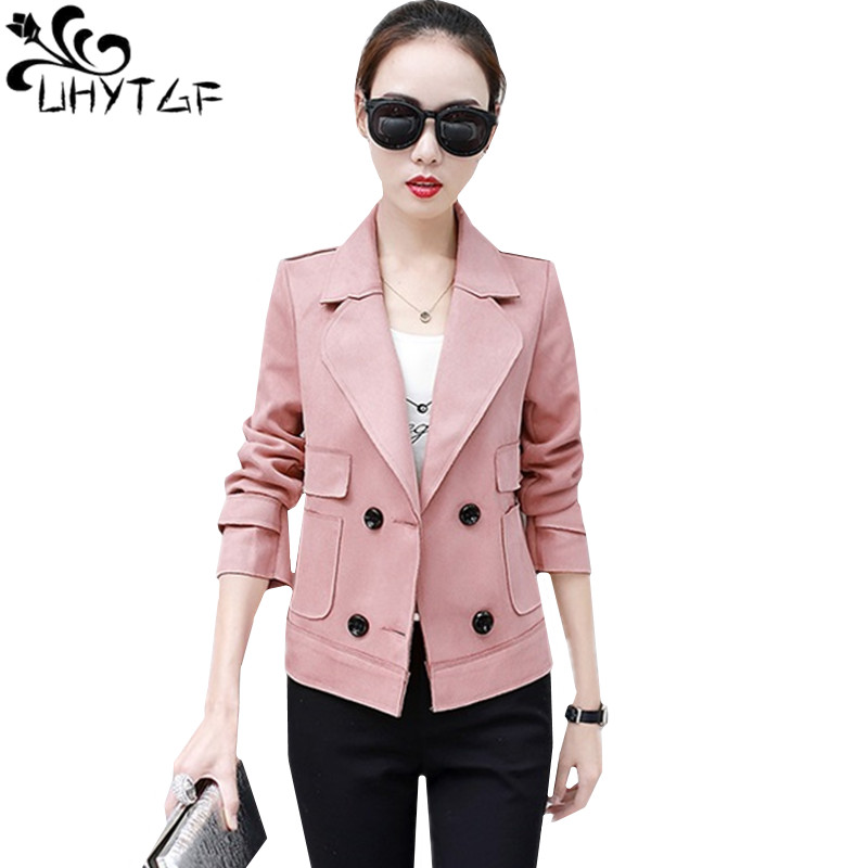 UHYTGF Quality Suede Windbreaker Women Short Coat Fashion Double Breasted Spring Autumn Coat Elegant Student Thin Outerwear 1165