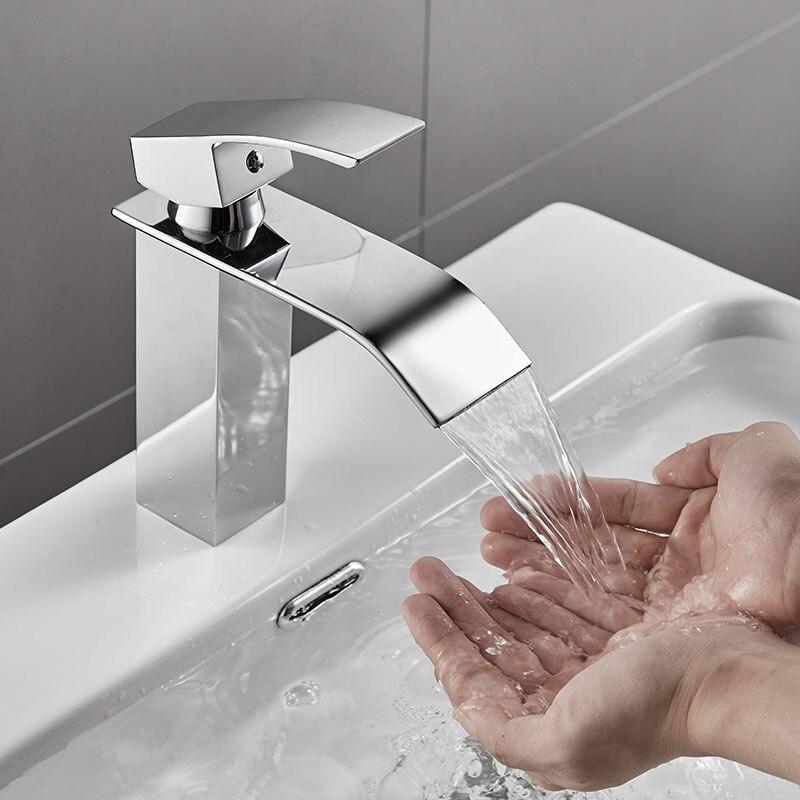 ROVOGO cascade salle de bains lavabo robinet, mitigeur d'eau chaude froide poignée unique grue, robinets de lavabo en laiton chromé - 2