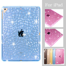 For New iPad 2017 2018 Air 1 2 Case Diamond Texture Tablet Transparent TPU Back Mini 3 4 Silicone