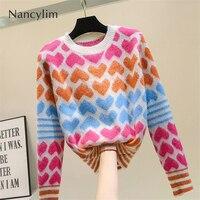 2019 Woman Autumn Winter Sweater New Loose Seahorse Hair Short Love Sweater Coat Girls Students Pull Jumper Knitwear Coat