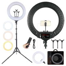 FOSOTO 18 Inch Led Ring Light 2700 -6500K Photography Lighting Camera Phone Makeup Video Ring Lamp With Tripod Stand And Remote fosoto fd 480ii dimmable bi color 18 96w camera photo video photography led ring light lamp with lcd screen tripod stand mirror