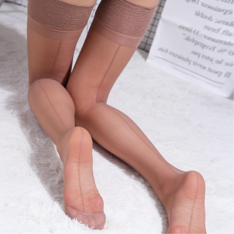 Noble Matte 15D Sexy Seamed Stockings Retro Cuban Heel Back Seam Transparent Silk Stockings Women Nylon Thigh High Stockings