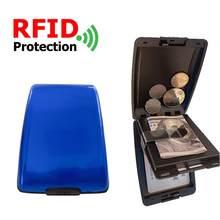 Billetera RFID para hombre y mujer, tarjetero para tarjetas bancarias, monedero de aleación de aluminio, para tienda al aire libre