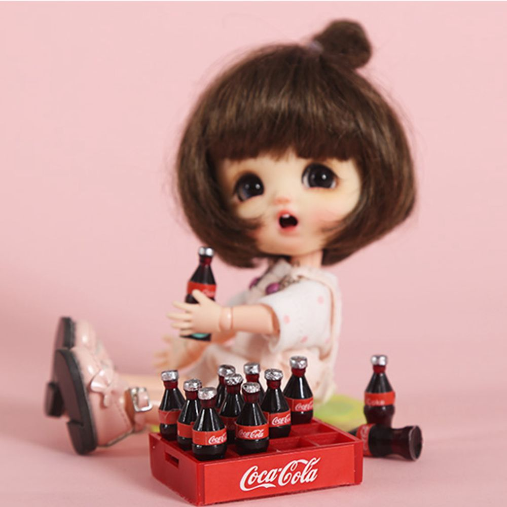 12piece Set Mini Cola Miniature Food Scene Model Doll House Accessories Dollhouse Miniature 1:12 Doll Accessories Girls
