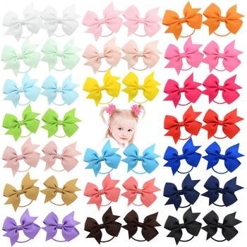 20Pcs/lot Solid Grosgrain Ribbon Bows For Baby Girls Ponytail Holder Hair Bands Elastic Rope Handmade Headband Hair Accessories 3