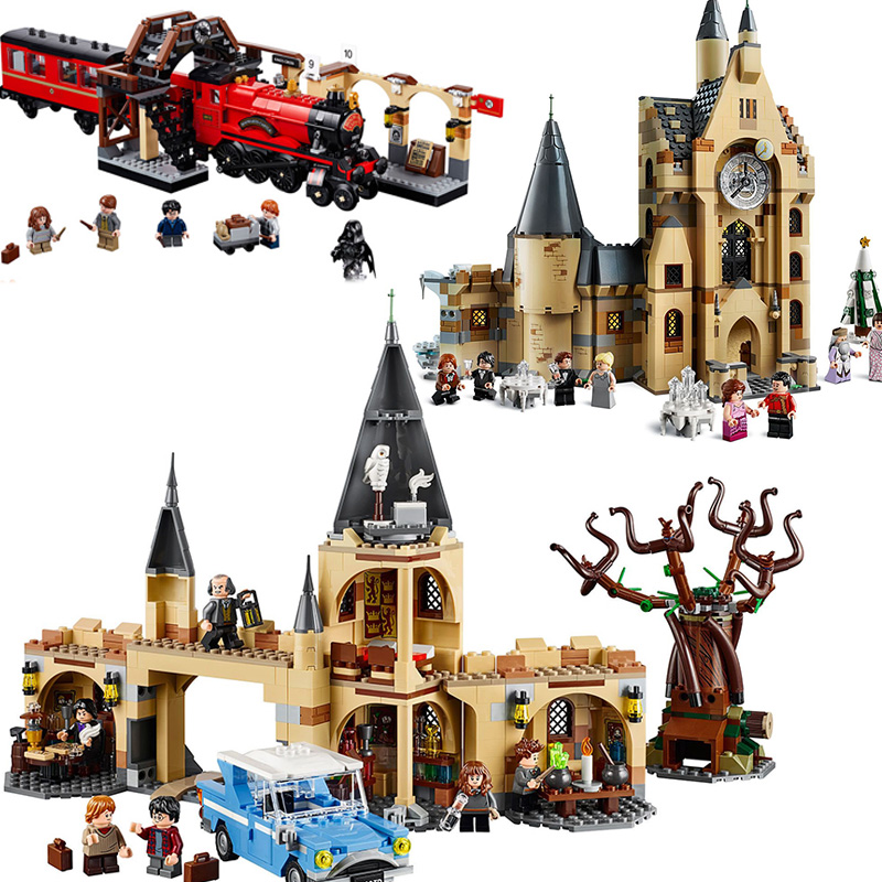 Complete Harri Magic Castle Clock Tower Express Train Building Blocks Toys Compatible 75953 75954 75955 75948