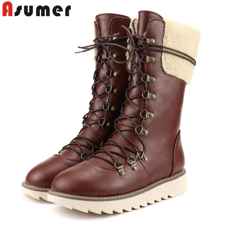 ASUMER Winter Boots Fashion Big-Size Women Ladies New 34-43 Cross-Tied No Mid-Calf Round-Toe