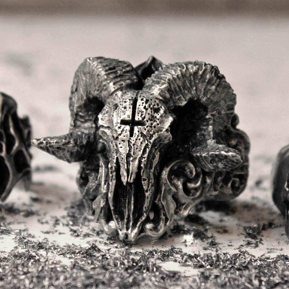 Vintage satanic demônio crânio anel 316l anel de aço inoxidável punk biker anéis para homem moda jóias