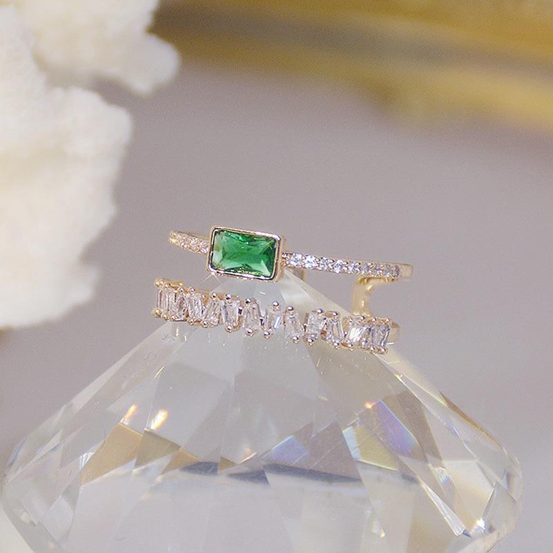 Bohême vert émeraude cristal femmes anneau Double couches Transparent Zircon élégant Bague Anillos briller bijoux de mariage de mariée 4