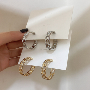 Trendy Hollow Chain Hoop Earrings Temperament Simple Design Circle Statement Earrings Jewelry Metal Geometric Fashion Earrings