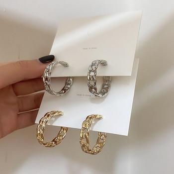 Trendy Hollow Chain Hoop Earrings Temperament Simple Design Circle Statement Jewelry Metal Geometric Fashion