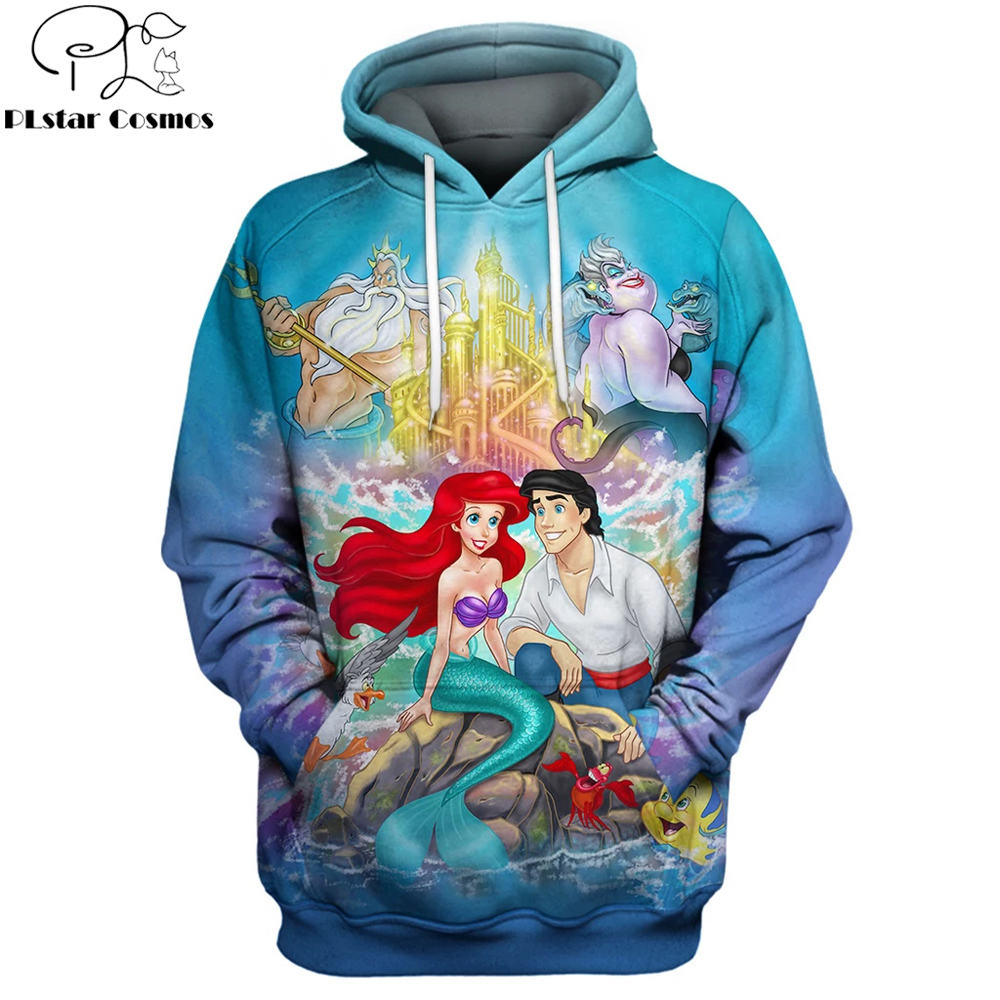 PLstar Cosmos 2019 Fashion Men Hoodies Little Mermaid Anime 3D Printed Hoodie/T-shirt Unisex Casual Streetwear Sudadera Hombre