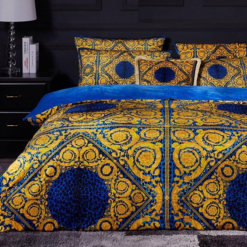 Высококачественный французский итальянский дизайн рококо Король Королева Размер кофе золотой цвет Зебра Леопард печать свадебные комплекты постельного белья