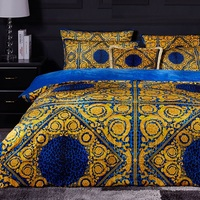 Velvet Material High end French Italy Design King And Queen Size Coffee Golden Color Pattern Print For Home Bedding Sets 4PCS