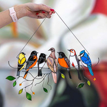 1pcs multicolor bird color dyed window panel bird series jewelry pendant home ornaments eid mubarak home decoration