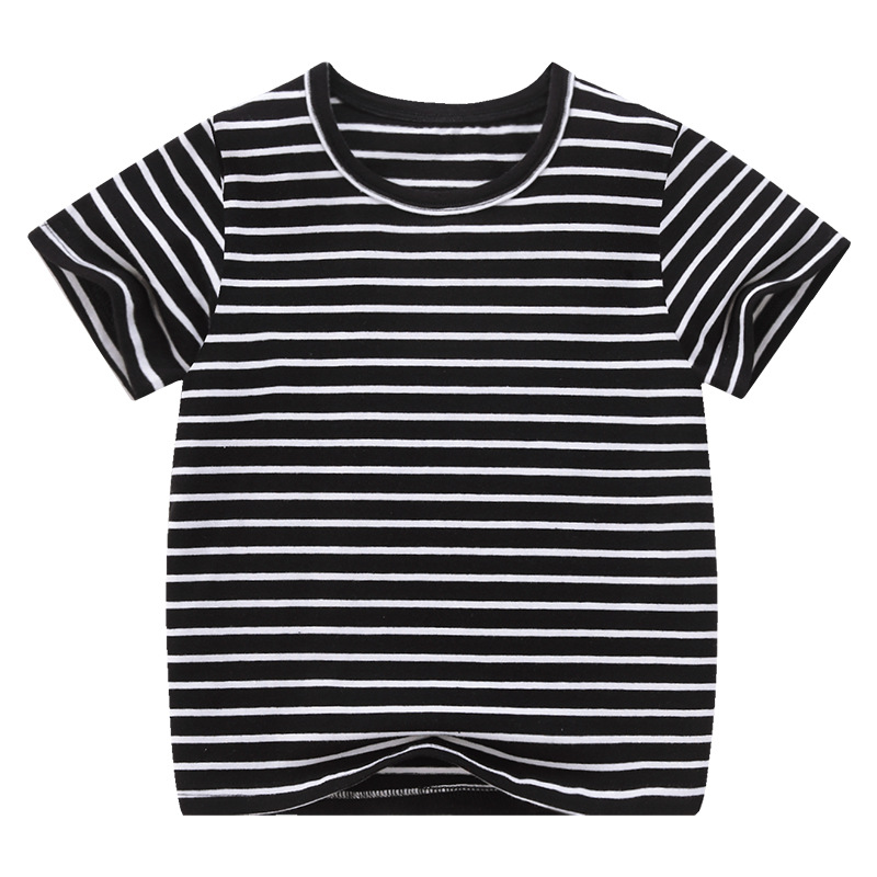 VIDMID Boy Girl Tee Solid Color t-shirts Baby Boys Girl T-shirts Summer striped Short Sleeve Kids Tees Children Clothing 7042 06 2