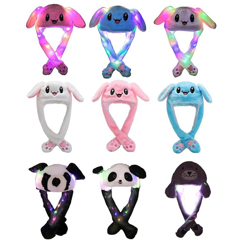 1pcs Rabbit Hat Parent-child Plush Ears Led Movable Light Cartoon Bright Light Hat Long Ear Light Hat Airbag Magnet Plush Cap