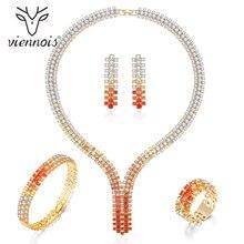 Viennois Luxe Sieraden Set Mix Kleur Zirconia Set Voor Vrouwen Armband Ring Ketting En Oorbellen Set Mode sieraden