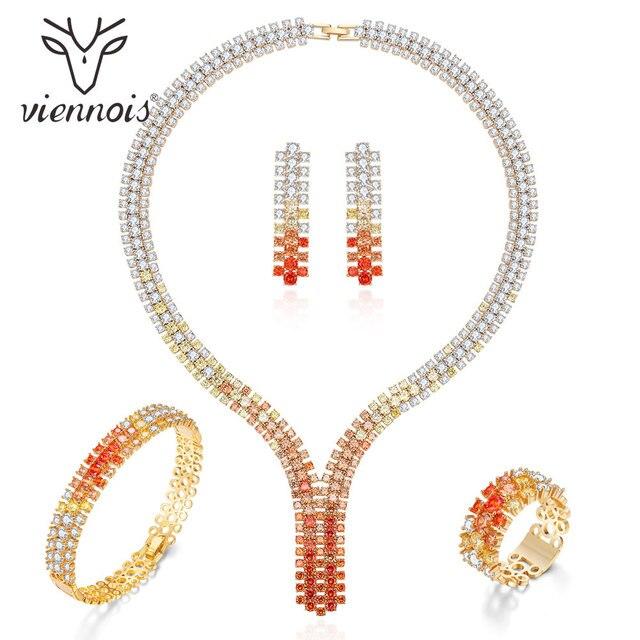 Viennois高級ジュエリーセットミックスカラーキュービックジルコニアセット女性のためのバングルリングネックレスとイヤリングセットファッションジュエリー