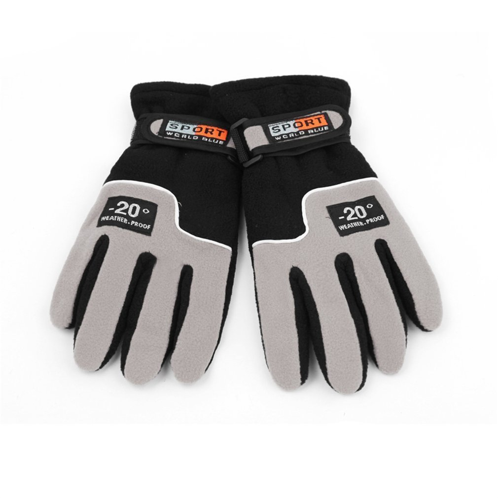 1 Pair Winter Sports Gloves Polar Fleece Ski Gloves Warmer Windproof Full Finger Men Motorcycle Riding Snow Snowboard Skiing