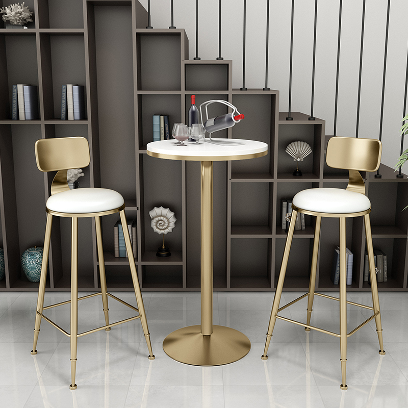 Nordic Minimalist Bar Chair Table Set Bar Chairs  Dessert Shop Cafe Bar Lounge Round Table High Stools