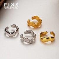 F.I.N.S 1PC coreano minimalista S925 de plata esterlina brillante onda Clip de oreja mujer INS de moda cepillado textura hueso del oído brazalete joyería