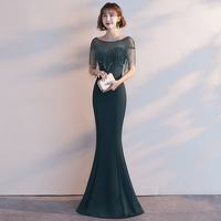 Chinese Sexy Traditional Tassel Dress In Cheongsam Elegant Women Trumpet Dresses Qipao Beads Formal Party Gown Slim Vestidos