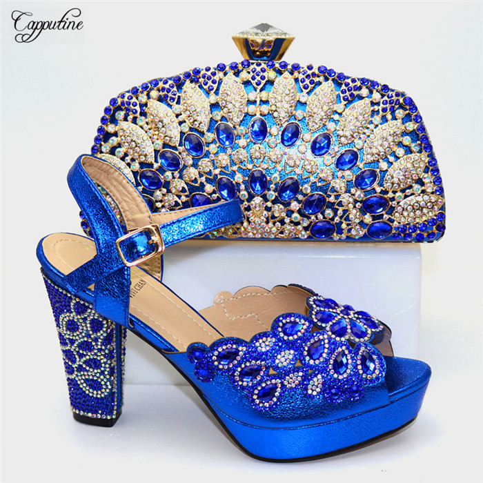 Beautiful royal blue evening party high heel sandal shoes and purse bag sets with crystal stones CR178, heel height 11.5cm