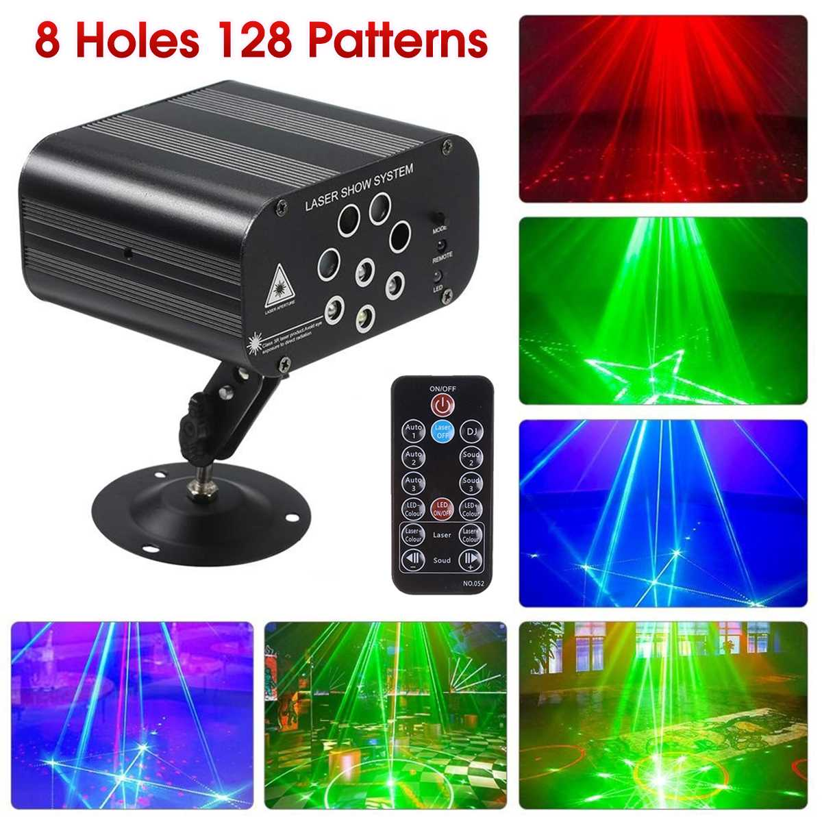 128 Patterns Projector DJ Laser Stage Light Red Green Blue LED Effect Disco Light Ball With Controller Moving Head Party Lamp
