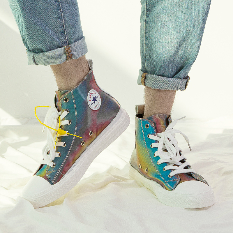 2019 New Colorful Jelly Casual Sports High and Low To Help Chameleon Reflective Canvas Shoes in Men 39 s Vulcanize Shoes from Shoes