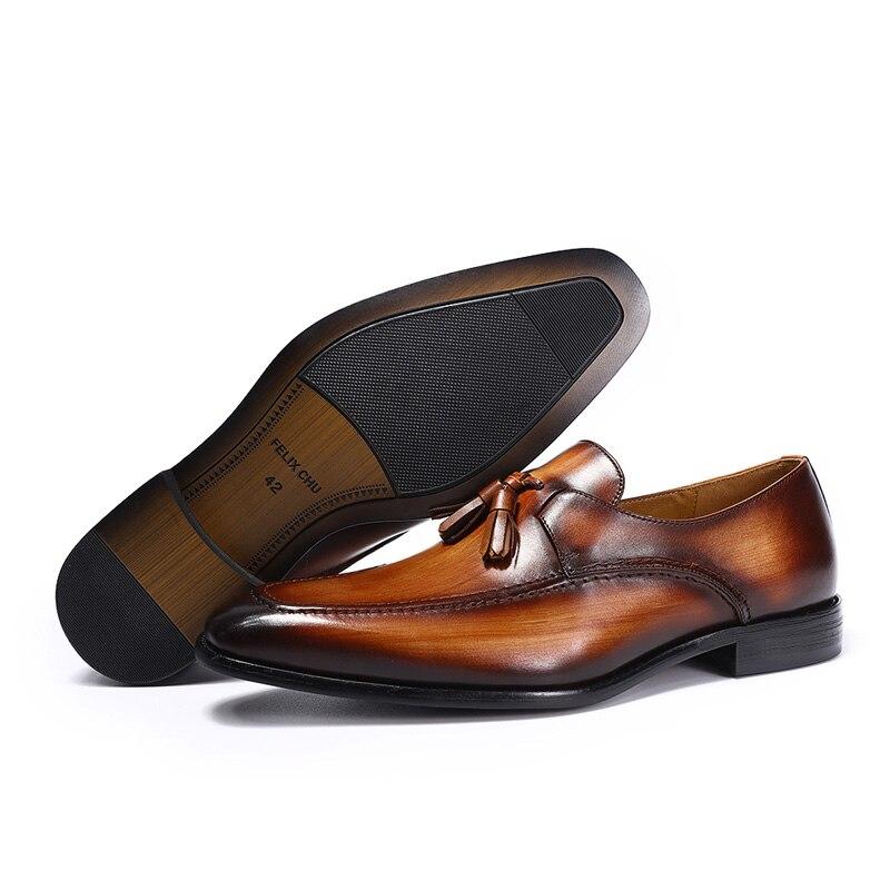 FELIX CHU 2020 hommes rue mode gland mocassins en cuir véritable marron chaussures formelles fête mariage hommes robe décontracté - 5